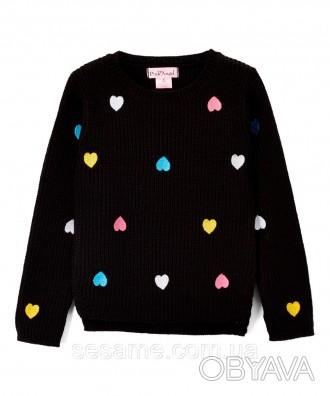 Детский теплый свитер сердечки черный для девочки, 0174