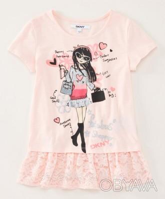 Детская футболка DKNY персиковая для девочки, 0183