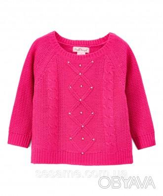 Детский теплый свитер фуксия с бусинками для девочки, 0176