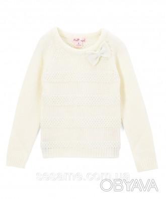 Детский теплый свитер молочный с бантиком для девочки, 0177