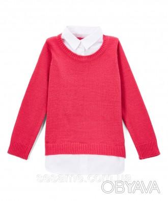 Детский теплый свитер розовый с белым воротником для девочки, 0178
