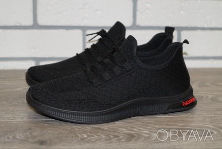 Мужские черные кроссовки, размеры: 41-46