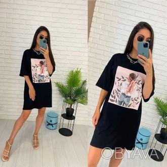 Женское платье-футболка Чёрный
