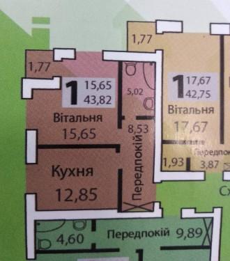 """Продаж 1 кімнатної квартири в новобудові ЖК """"Зелений масив"""" по вул. Рі. 33 микрорайон, Луцьк, Волинська область. фото 2"""
