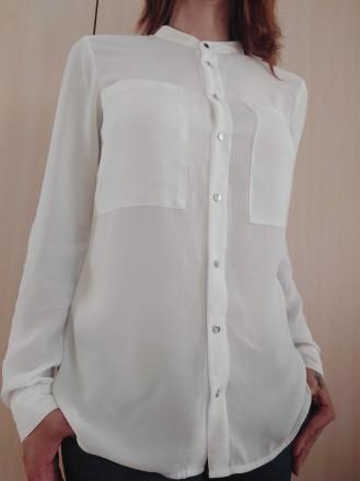 Белая стильная блузка - рубашка с серебристыми пуговицами  H&M. Мукачево, Закарпатская область. фото 5