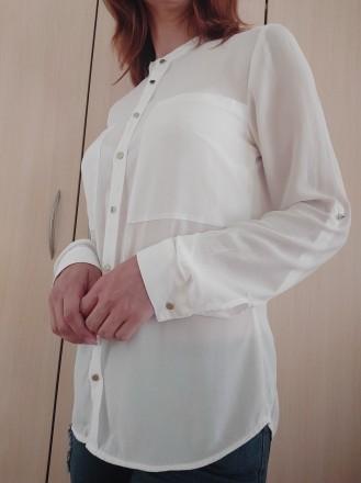 Белая стильная блузка - рубашка с серебристыми пуговицами  H&M. Мукачево, Закарпатская область. фото 4