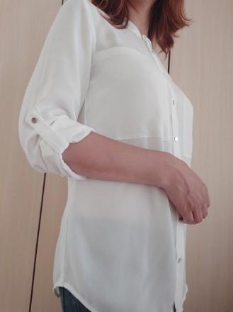 Белая стильная блузка - рубашка с серебристыми пуговицами  H&M. Мукачево, Закарпатская область. фото 3