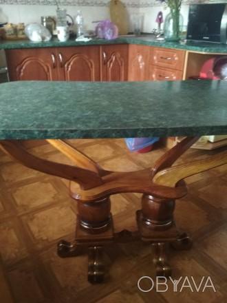 Деревянный стол на кухню б/у в отличном состоянии размер110 на 60см столешница м. Чернигов, Черниговская область. фото 1