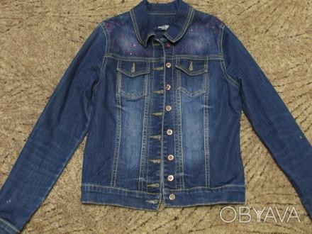 Джинсовый пиджак на девочку . Замеры : плечо 10 см , рукав - 57 см , длина - 48,. Кривий Ріг, Дніпропетровська область. фото 1