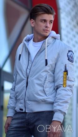 Бомбер Top Gun MA-1 Nylon Bomber jacket with hoodie (сірий)