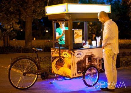 Велокофейня - трёхколёсный грузовой велосипед для уличной торговли